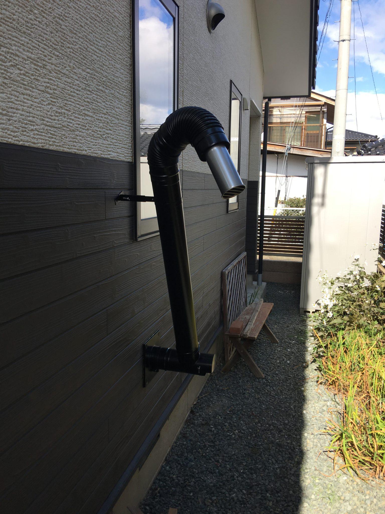 ペレットストーブ 給排気管 室外立上設置